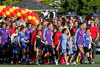 Rochester, NY - Saturday June 11, 2016: Western New York Flash and Orlando Pride teams enter during a regular season National Women's Soccer League (NWSL) match between the Western New York Flash and the Orlando Pride at Rochester Rhinos Stadium.
