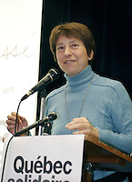 February 26 th, 2006, Montreal (Qc) CANADA<br /> Francoise David, Quebec Solidaire<br /> <br /> Photo : Delphine Descamps / (c)  Images Distribution