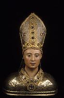 Europe/France/Midi-Pyrénées/09/Ariège/Saint-Lizier: La cathédrale - Détail d'un buste reliquaire de Saint Lizier 16 ème siècle