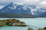 Lago Pehoe below Paine Massif in Torres del Paine National Park in Patagonia Chile