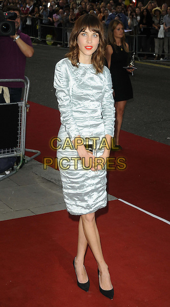Alexa Chung<br /> GQ Men of the Year Awards 2013 at the Royal Opera House, London, England.<br /> September 3rd, 2013<br /> full length blue grey gray crushed dress<br /> CAP/CAN<br /> &copy;Can Nguyen/Capital Pictures