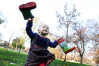 Two-year-old Francesca runs joyfully through the Boston Commons in Boston, MA.