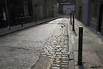 Back streets of London, cobbled road, Heneage Street, Whitechapel, London, England