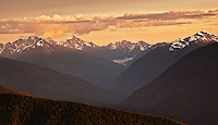 Sunset over the Olympic mountain range, Olympic National Park, Washington State