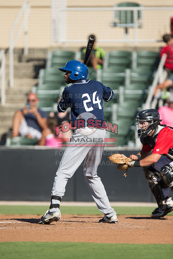 Wes Rogers (24) of the Asheville Tourists at bat against the Kannapolis Intimidators at Intimidators Stadium on June 28, 2015 in Kannapolis, North Carolina.  The Tourists defeated the Intimidators 6-4.  (Brian Westerholt/Four Seam Images)