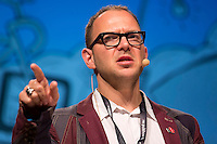 """Cory Doctorow, kanadischer Science-Fiction-Autor, Journalist und Blogger haelt am Mittwoch (08.05.13) in Berlin auf der re:publika seinen Vortrag mit dem Titel """"It's not a fax machine connect to a waffle iron"""".Foto: CommonLens/Axel Schmidt"""