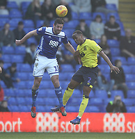 Blackburn Rovers Ryan Nyambe  battles with  Birmingham City's Lukas Jutkiewicz<br /> <br /> Photographer Mick Walker/CameraSport<br /> <br /> The EFL Sky Bet Championship - Birmingham City v Blackburn Rovers - Saturday 23rd February 2019 - St Andrew's - Birmingham<br /> <br /> World Copyright © 2019 CameraSport. All rights reserved. 43 Linden Ave. Countesthorpe. Leicester. England. LE8 5PG - Tel: +44 (0) 116 277 4147 - admin@camerasport.com - www.camerasport.com