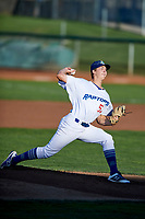 Ogden Raptors starting pitcher Caleb Sampen (51) delivers a pitch during a game against the Grand Junction Rockies at Lindquist Field on September 7, 2018 in Ogden, Utah. The Rockies defeated the Raptors 8-5. (Stephen Smith/Four Seam Images)