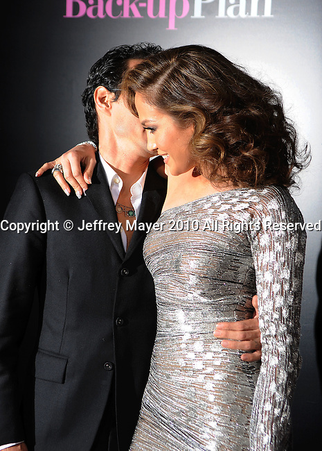 """WESTWOOD, CA. - April 21: Marc Anthony and Jennifer Lopez attend the """"The Back-Up Plan"""" Los Angeles Premiere at Regency Village Theatre on April 21, 2010 in Westwood, California."""