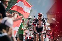 """Rory Sutherland (AUS/UAE-Emirates) coming through """"Dutch Corner"""" (#7) on Alpe d'Huez<br /> <br /> Stage 12: Bourg-Saint-Maurice / Les Arcs > Alpe d'Huez (175km)<br /> <br /> 105th Tour de France 2018<br /> ©kramon"""