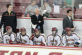 Kevin Pratt (BC - Student Manager), Evan Richardson (BC - 22), Johnny Gaudreau (BC - 13), Jerry York (BC - Head Coach), Austin Cangelosi (BC - 26), Ryan Fitzgerald (BC - 19), Bill Arnold (BC - 24), Mike Ayers (BC - Assistant Coach) - The Boston College Eagles defeated the visiting St. Francis Xavier University X-Men 8-2 in an exhibition game on Sunday, October 6, 2013, at Kelley Rink in Conte Forum in Chestnut Hill, Massachusetts.