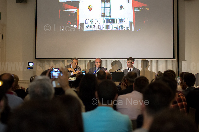 (From L to R) Marco Delogu, Claudio Ranieri &amp; John Foot.<br /> <br /> London, 03/06/2016. Today, the Italian Cultural Institute in London (ICI London) presented a public meeting called &quot;Claudio Ranieri in conversation with John Foot&quot; hosted by Claudio Ranieri (Italian football manager and former player; he is the current manager of English club Leicester City. Previously he was manager of: Cagliari, Napoli, Fiorentina, Valencia, Atl&eacute;tico Madrid, Chelsea, Parma, Juventus, Roma, Inter Milan, Monaco, Greek National Team, and from the summer of 2015 he is the manager of Leicester City, where he won the Premier League title which was offered by the bookmakers at 5,000-1 to win at the start of the season) and Professor John Foot (English academic, Professor of Modern Italian History in the Department of Italian, University of Bristol, author). Chair of the event was Marco Delogu (Italian photographer, Director of the Italian Cultural Institute in London, editor and exhibition&rsquo; curator). From the Italian Cultural Institute in London website: &lt;&lt;[&hellip;] Claudio Ranieri today is a living legend: the Italian coach who managed to bring Leicester City FC from a narrowly avoided relegation the previous season, to a sensational Premier League Championship this year. Since this amazing result, he has been crowned 2016 Premier League Manager of the Season, LMA Manage of the Year, awarded honours such as Grand Officer of the Italian Order of Merit and the Enzo Bearzot Award as Best Italian Manager of the Year. A quiet and reserved family man, he has earned the respect of fans and rivals alike. John Foot will talk to him about life and football. [&hellip;]&gt;&gt;.<br /> <br /> For more information please click here: http://www.icilondon.esteri.it/iic_londra/it/gli_eventi/calendario/claudio-ranieri-in-conversation.html<br /> <br /> For a video of the event please click here (Source: ItalCultLondon on YouTube.com): https://www.youtube.com/watch?v=Zvh