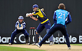 Cricket - Hampshire Royals V Scottish Saltires at The Rosebowl - Southampton - Royals James Vince (who went on to score 131) about to hit out (in front of Saltires keeper Craig Wallace) off the bowling of George Worker - Picture by Donald MacLeod -29.08.11 - 07702 319 738 - www.donald-macleod.com