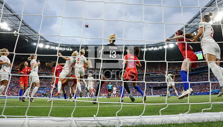DECINES-CHARPIEU, FRANCE - JULY 02: Carly Telford #13 during a 2019 FIFA Women's World Cup France Semi-Final match between England and the United States at Groupama Stadium on July 02, 2019 in Decines-Charpieu, France.