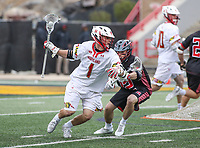 College Park, MD - April 15, 2018: Maryland Terrapins Connor Kelly (1) in action during game between Rutgers and Maryland at  Capital One Field at Maryland Stadium in College Park, MD.  (Photo by Elliott Brown/Media Images International)