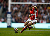Photo: Richard Lane/Richard Lane Photography. England v Wales. 25/02/2012. Wales' Lee Halfpenny kicks.