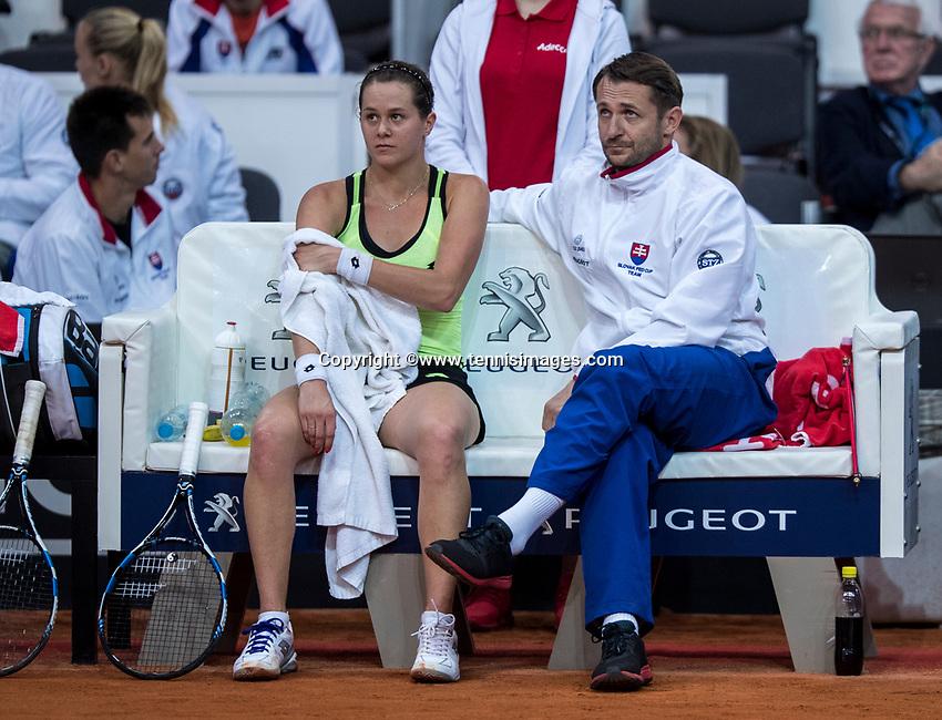 Bratislava, Slovenia, April 22, 2017,  FedCup: Slovakia-Netherlands, First rubber : The Slovakian  bench with Jana Cepelova  and captain Matej Liptak<br /> Photo: Tennisimages/Henk Koster