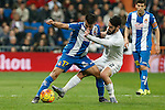 Real Madrid´s Isco (R) and Espanyol´s Hernan Perez during 2015/16 La Liga match between Real Madrid and Espanyol at Santiago Bernabeu stadium in Madrid, Spain. January 31, 2016. (ALTERPHOTOS/Victor Blanco)