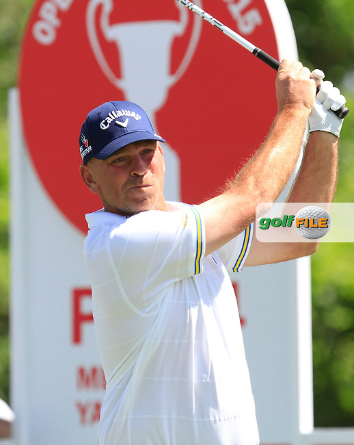 Thomas Bjorn (DEN) on the 9th tee during Round 2 of the Open de Espana  in Club de Golf el Prat, Barcelona on Friday 15th May 2015.<br /> Picture:  Thos Caffrey / www.golffile.ie