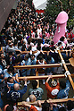 Apr 04, 2010 - Kawasaki, Japan - Participants carry a portable shrine with a large pink phallus during the Kanamara Matsuri (Festival of the Steel Phallus) held in Wakamiya Hachimangu Shrine on April 4, 2010 in Kawasaki, Japan. The annual feritility festival, held traditionally the first Sunday in April, is said to encourage fertility and bring harmony to married couples. The festival has also become somewhat of a tourist attraction and is used to raise money for HIV research and awareness of AIDS prevention.
