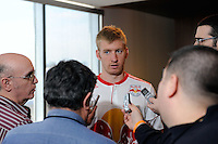 Tim Ream (5) of the New York Red Bulls is interviewed on Media Day at Red Bull Arena in Harrison, NJ, on March 15, 2011.