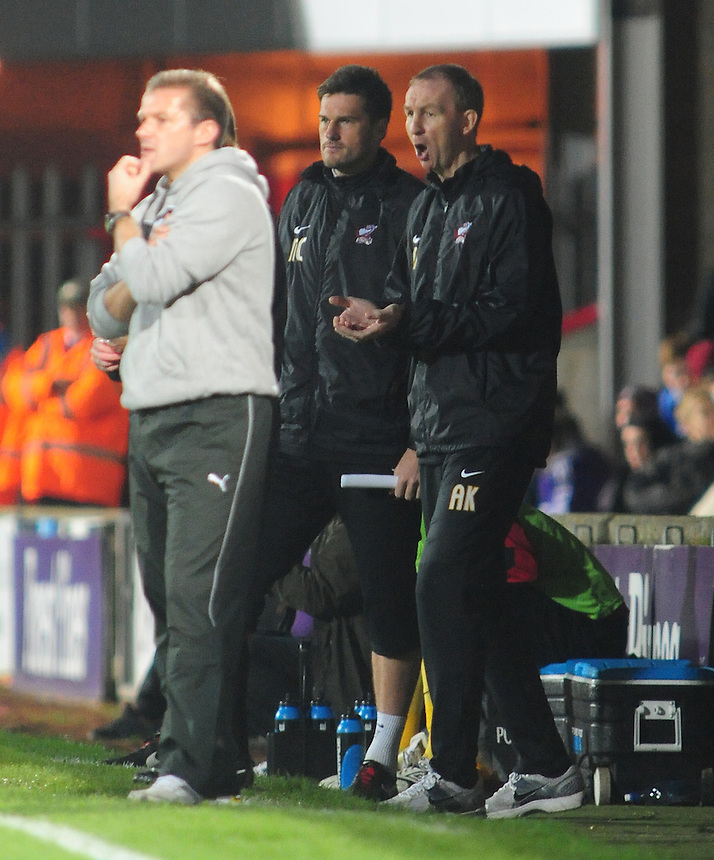 Scunthorpe United's Manager Alan Knill, right..Football - npower Football League Division One - Scunthorpe United v Preston North End - Tuesday 23rd October 2012 - Glanford Park - Scunthorpe..