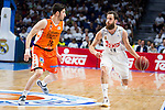 Real Madrid's player Sergio Rodriguez and Valencia Basket's Guillem Vives during the first match of the Semi Finals of Liga Endesa Playoff at Barclaycard Center in Madrid. June 02. 2016. (ALTERPHOTOS/Borja B.Hojas)