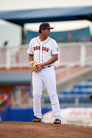 Salem Red Sox relief pitcher Danny Gonzalez (40) gets ready to deliver a pitch during a game against the Lynchburg Hillcats on May 10, 2018 at Haley Toyota Field in Salem, Virginia.  Lynchburg defeated Salem 11-5.  (Mike Janes/Four Seam Images)