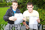 Tim O'Donoghue and Niall Healy with their leaving Cert results in St Brendans College, Killarney on Wednesday.   Copyright Kerry's Eye 2008