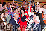 Maura Healy Rae celebrates with her father Danny and their supporters at the Killarney Count Centre on Sunday