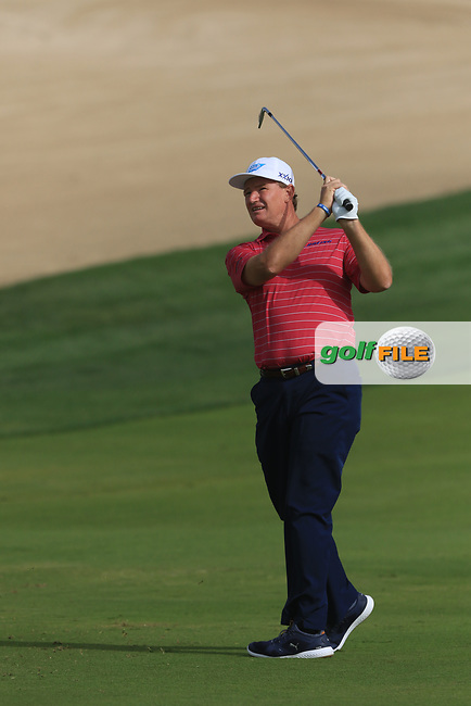 Ernie Els (RSA) on the 8th during Round 2 of the Omega Dubai Desert Classic, Emirates Golf Club, Dubai,  United Arab Emirates. 25/01/2019<br /> Picture: Golffile | Thos Caffrey<br /> <br /> <br /> All photo usage must carry mandatory copyright credit (&copy; Golffile | Thos Caffrey)