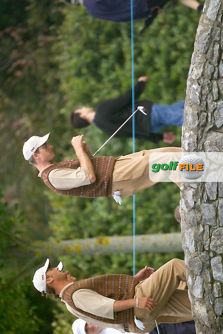 Straffin Co Kildare Ireland. K Club Ruder Cup...(r) Jim Furyk followed by Chris DiMarco and Phil Mickelson crossing the bridge on the 14th fairway at the K Club in Straffan, Co Kildare, Ireland, 21 September 2006. The Ryder Cup competition between the American and European teams starts 22 September...Photo: Eoin Clarke/ Newsfile..