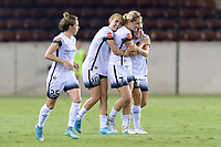Houston, TX - Saturday July 08, 2017: Lindsey Horan celebrates her goal with Allie Long and Mallory Weber during a regular season National Women's Soccer League (NWSL) match between the Houston Dash and the Portland Thorns FC at BBVA Compass Stadium.