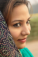 Young Indian woman in traditional sari, New Delhi, India