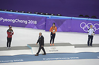 OLYMPIC GAMES: PYEONGCHANG: 22-02-2018, Gangneung Ice Arena, Short Track, Final results 1000m Ladies, Kim Boutin (CAN), Olympic Champion Suzanne Schulting (NED), Arianna Fontana (ITA), ©photo Martin de Jong