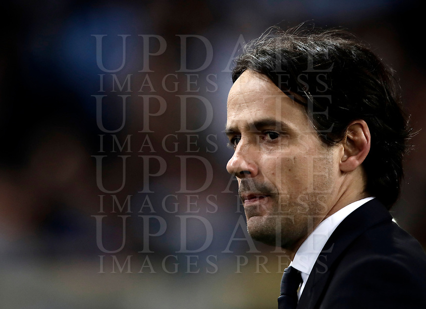 Europa League quarter-final 1st leg <br /> S.S. Lazio - FC Salzburg  Olympic Stadium Rome, April 5, 2018.<br /> Lazio's coach Simone Inzaghi celebrates after winning 4-2 the Europa League match between Lazio and Salzburg at Rome's Olympic stadium, April 5, 2018.<br /> UPDATE IMAGES PRESS/Isabella Bonotto