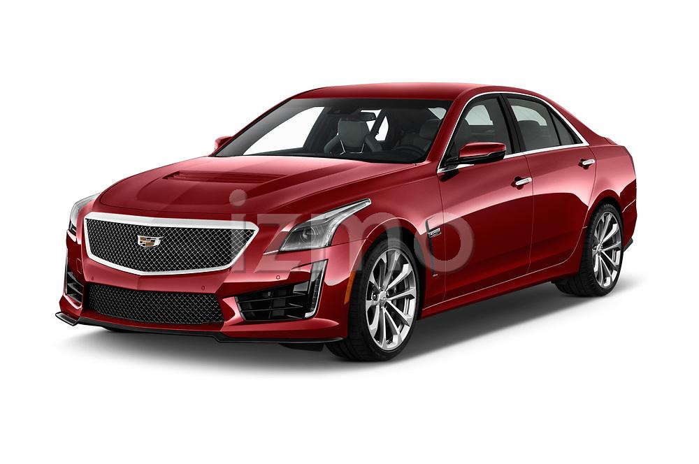 2016 Cadillac CTS V V 4 Door Sedan Angular Front stock photos of front three quarter view