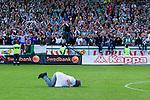 Stockholm 2013-06-23 Fotboll Superettan , Hammarby IF - &Auml;ngelholms FF :  <br /> Leif Andr&eacute;e kysser gr&auml;smattan framf&ouml;r Hammarby Bajen fans efter att sista matchen p&aring; S&ouml;derstadion mellan Hammarby och &Auml;ngelholm spelats klart. <br /> (Foto: Kenta J&ouml;nsson) Nyckelord:  portr&auml;tt portrait