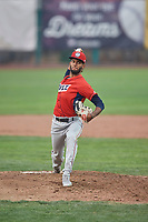 Cristopher Molina (35) of the Orem Owlz delivers a pitch during a game against the Ogden Raptors at Lindquist Field on August 4, 2018 in Ogden, Utah. The Owlz defeated the Raptors 15-12. (Stephen Smith/Four Seam Images)