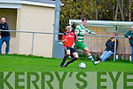 St Brendans Park's David Courtney get in front of Killarney Celtic's Peter McCarthy in the KDL Munster Junior final at Mounthawk park, Tralee on Sunday.