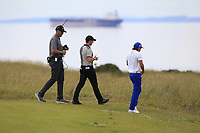 Rickie Fowler (USA) and Rory McIlroy (NIR) on the 3rd during Round 1 of the Aberdeen Standard Investments Scottish Open 2019 at The Renaissance Club, North Berwick, Scotland on Thursday 11th July 2019.<br /> Picture:  Thos Caffrey / Golffile<br /> <br /> All photos usage must carry mandatory copyright credit (© Golffile | Thos Caffrey)