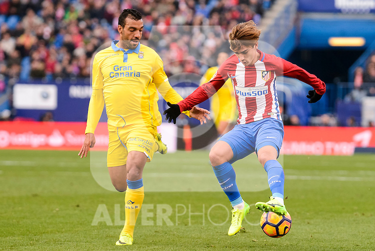 Atletico de Madrid XXX and UD Las Palmas XXX during La Liga match between Atletico de Madrid and UD Las Palmas at Vicente Calderon Stadium in Madrid, Spain. December 17, 2016. (ALTERPHOTOS/BorjaB.Hojas)
