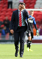 Fleetwood Town manager Joey Barton cuts a frustated figure at the final whistle <br /> <br /> Photographer David Shipman/CameraSport<br /> <br /> The EFL Sky Bet League One - Doncaster Rovers v Fleetwood Town - Saturday 17th August 2019  - Keepmoat Stadium - Doncaster<br /> <br /> World Copyright © 2019 CameraSport. All rights reserved. 43 Linden Ave. Countesthorpe. Leicester. England. LE8 5PG - Tel: +44 (0) 116 277 4147 - admin@camerasport.com - www.camerasport.com