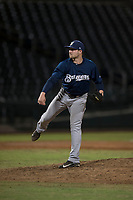 AZL Brewers relief pitcher Tate Budnick (30) follows through on his delivery during an Arizona League game against the AZL Cubs 1 at Sloan Park on June 29, 2018 in Mesa, Arizona. The AZL Cubs 1 defeated the AZL Brewers 7-1. (Zachary Lucy/Four Seam Images)