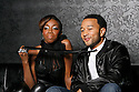 "BROOKLYN, NY - JANUARY 25:  Estelle and John Legend on the set of Estelle video shoot for ""American Boy"" at a Brooklyn Sound Stage  on Jan 25,2008 in New York.  (Photo by Soul Brother/FilmMagic)"