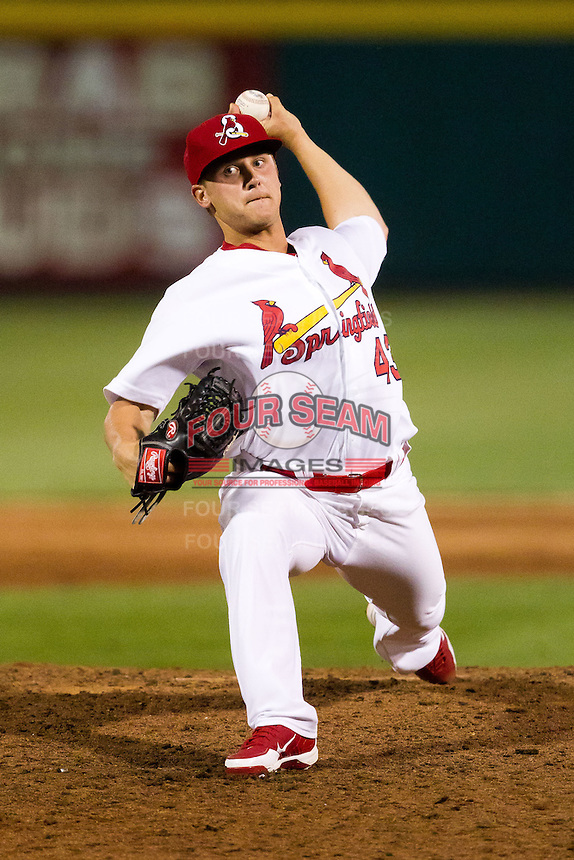 Justin Wright (43) of the Springfield Cardinals delivers a pitch during a game against the Arkansas Travelers at Hammons Field on June 13, 2012 in Springfield, Missouri. (David Welker/Four Seam Images).