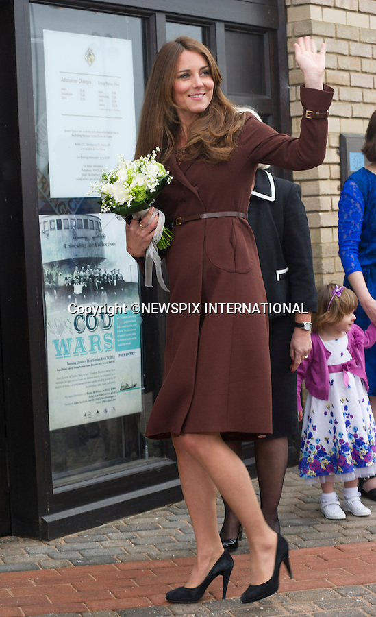 """CATHERINE, DUCHESS OF CAMBRIDGE .visited The National Fishing Heritage Centre, Humberside Fire and Rescue Service and Havelock Academy in Grimsby, Lincolnshire _05/03/2013.It was a first visit to a programme run by the Prince's Trust by the Duchess who is 5 months pregnant..Mandatory credit photo:©Dias/NEWSPIX INTERNATIONAL..**ALL FEES PAYABLE TO: """"NEWSPIX INTERNATIONAL""""**..PHOTO CREDIT MANDATORY!!: NEWSPIX INTERNATIONAL(Failure to credit will incur a surcharge of 100% of reproduction fees)..IMMEDIATE CONFIRMATION OF USAGE REQUIRED:.Newspix International, 31 Chinnery Hill, Bishop's Stortford, ENGLAND CM23 3PS.Tel:+441279 324672  ; Fax: +441279656877.Mobile:  0777568 1153.e-mail: info@newspixinternational.co.uk"""