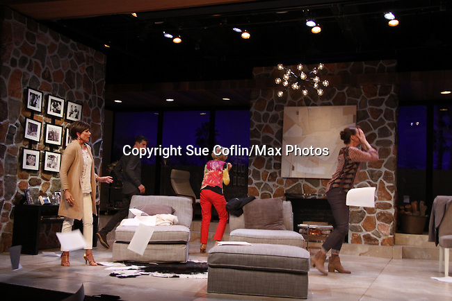 """As The World Turns' Colleen Zenk stars along with the cast -  Davy Raphaely, Peggy J. Scott and Brenda Withers and Malachy Cleary in """"Other Desert Cities"""" at the tech rehearsal (in costume) on October 14, 2015 at Whippoorwill Halll Theatre, North Castle Library, Kent Place, Armonk, New York.  (Photo by Sue Coflin/Max Photos)"""