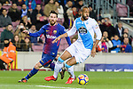 Sidnei Rechel da Silva Junior of RC Deportivo La Coruna (R) fights for the ball with Lionel Messi of FC Barcelona (L) during the La Liga 2017-18 match between FC Barcelona and Deportivo La Coruna at Camp Nou Stadium on 17 December 2017 in Barcelona, Spain. Photo by Vicens Gimenez / Power Sport Images