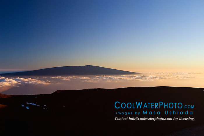 Silhouette of Mauna Loa summit at sunset, 13,680 feet or 4,170 meters above sea level, Big Island, Hawaii